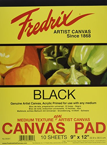 Fredrix 35001 Black Canvas Pad, 10 Sheets, 9 By 12 Inches