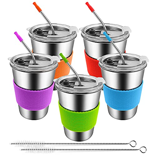 Vayugo Kids Cups with Lids and Straws, 5 Pack Stainless Steel 12oz Spill Proof Toddler Tumblers, Unbreakable Drinking Sippy Cup Leak Proof Water Bottle Travel Mug for Children & Adults Indoor Outdoor