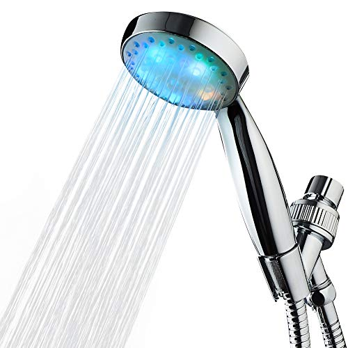 KAIREY Led Handheld Shower Head 7 Color Light Change Automatically Polished Chrome with 60 Inches Stainless Steel Hose and Adjustable Bracket