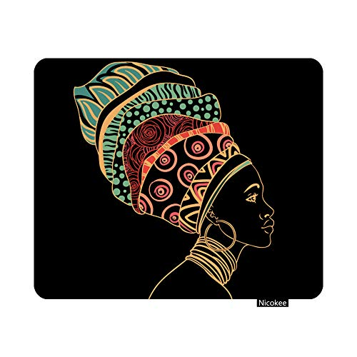 Nicokee Gaming Mouse Pad Africa Portrait of Beautiful African Woman Earring Profile View Jewellery Ethnic Non-Slip Rubber Mouse Pad for Computers, Laptop, Office 9.5 Inch x 7.9 Inch