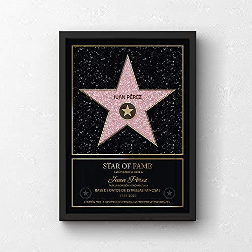 GOODS+GADGETS Estilo Personal de la Estrella de Hollywood Walk of Fame: Certificado Star of Fame con Nombre y Marco de Madera Personalizado con Nombre (A3-30 x 42 cm)