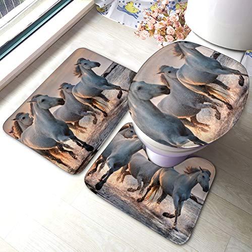 Pferde Camargue France Badezimmerteppich-Set, rutschfest, weich, für Badewanne, Dusche, Badezimmer, 3 Stück