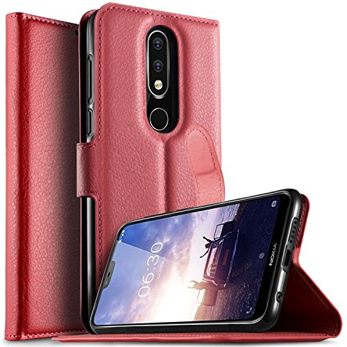 KuGi Nokia 6.1 Plus Custodia, Flip Cover Portafoglio Pelle Protective Wallet Custodia Morbido Caso Guscio con Stand per Nokia 6.1 Plus(Rosso)