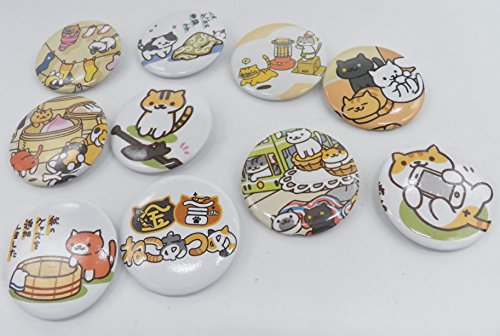 10 Neko Atsume Cats Plastic Button Set ~1.75' Big~