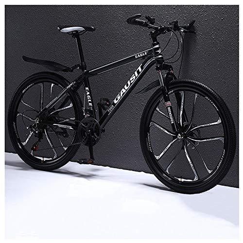 COSCANA Mountain Bike 24-27 Speed, 26 Inch Ten Spoke Wheel Bikes 17' Frame Dual Disc Brake, Front Suspension Outdoor Bicycle For Men WomenBlack-24 Speed
