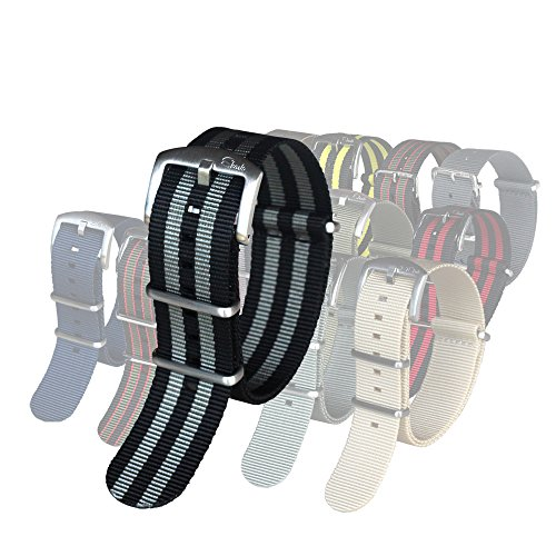 BluShark The Original Premium Nylon Watch Strap 22mm James Bond (Black/Gray)