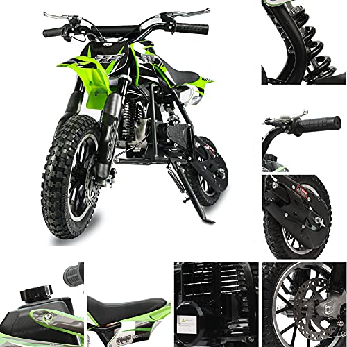 Fit Right FRP DB001 49CC 2-Stroke Kids Dirt Off Road Mini Dirt Bike, Kid Gas Powered Dirt Bike Off Road Motorcycle (Green)
