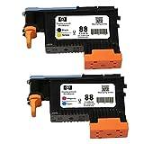 Karl Aiken 2X cabezal de impresión compatible con HP 88 C9381 A negro, amarillo C9382 A Magenta cian Compatible con impresoras HP Officejet Pro.