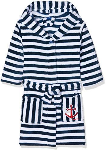 Playshoes Kinder Fleece-Bademantel Ringel Maritim, Accappatoio Bimbo 0-24, Blu (Marine/Weiß 171), 86/92