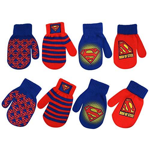 DC Comics Boys 4 Pack Mitten Set: Batman, Superman, Justice League (Toddler), Superman Design - 4 Pair Mittens Set