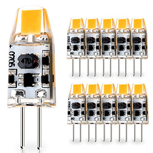 JAUHOFOGEI 10er G4 LED COB Lampen, 12-24V AC DC Glühbirne, 1w ersetzt 10w Halogenlampen, Warmweiß 2800K, Nicht Dimmbar, Mini Leuchtmittel Birne, G4 Einbaustrahler