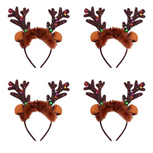 Lurrose Bożonarodzeniowa opaska na włosy z oświetleniem LED, poroże bożonarodzeniowe, ozdoby do włosów, ozdoby bożonarodzeniowe, ozdoby do włosów dla kobiet, dzieci, 4 sztuki