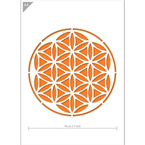 QBIX Mandala Stencil - A4 Mandala Stencil for Furniture, Walls, Floors - Mandalas for DIY Home Decor - Reusable Kids Friendly DIY Mandala Stencil for Painting, Baking, Crafts, Wall, Furniture