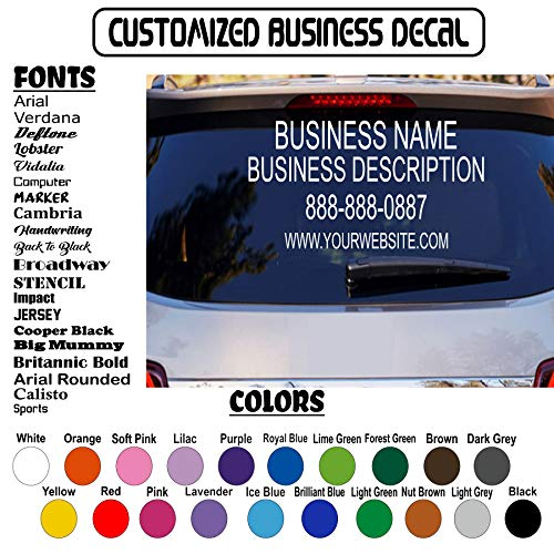 Custom Decal Business, Description, Contact Phone Website Social Name Titles, Initial, Promote Sign, School Vinyl Sticker Car Window Windshield, Wall and Door. Customizable Sizes and Colors. 4 Lines