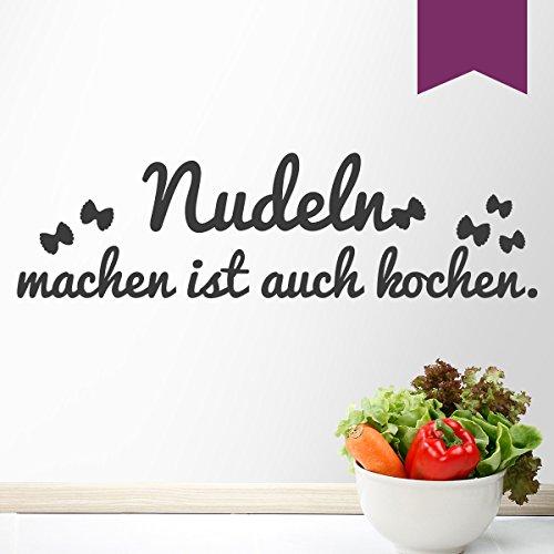 WANDKINGS Wandtattoo Nudeln Machen ist auch Kochen (mit Farfalle Silhouetten) 50 x 14 cm aubergine - erhältlich in 33 Farben