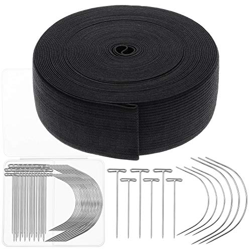 Elastic Band for Wigs, Cridoz Black Elastic Wig Band Elastic Strap Spool with 60pcs Weaving Needles and T Pins for Wigs and Sewing (1.5 Inch X 11 Yard)