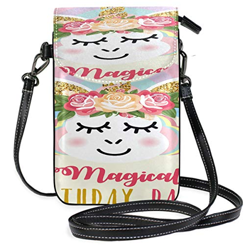 Leather Cell Phone Neck Pouch Happy Birthday Card With Cute Animal Best Wish Print Crossbody Phone Bags For Women Crossbody Purse Purse Wallet Travel Passport Bag Handbags For Women