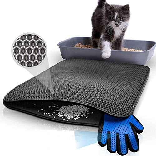 TASTELIO Katzenklo Matte 75x55cm - Inklusive gratis Fellhandschuh - Katzenstreu Matte mit innovativer Wabenstruktur - Doppelte wasserdichte Schicht - Katzenmatte mit kinderleichter Reinigung