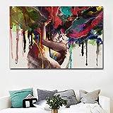 Pareja abstracta abrazándose juntos amor beso pintura al óleo sobre lienzo carteles e impresiones Cuadros cuadros de arte de pared para sala de estar 60x120 CM (sin marco)