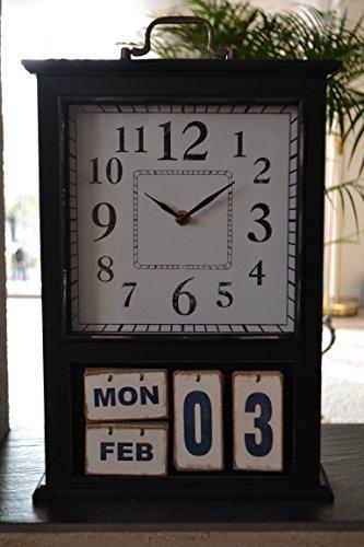 Maison en France Tischuhr mit Kalender groß- 43 cm - in stabilem Holzgehäuse + Glasabdeckung -