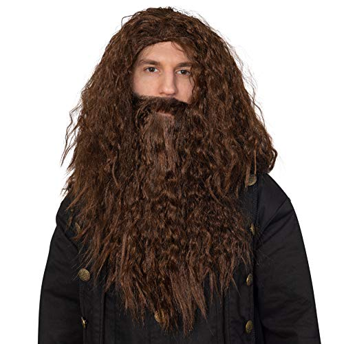 Skeleteen Brown Wig and Beard - Brown Wavy Biblical Costume Accessories Hair Wig and Beard Set for Adults and Kids