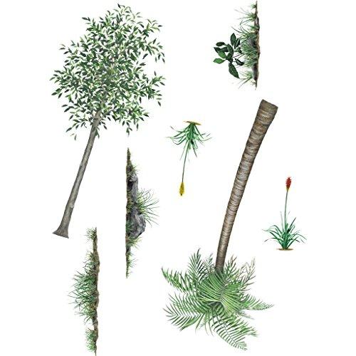 Un Ensemble de paysage de forêt tropicale Stickers – à partir de murs de The Wild Chambre à coucher pour enfants – Idéal pour les murs. dessinés à la main – amovible et lavable sur le thème des illustrations qui les enfants Adorent. Création d'un modèle Affiche murale à l'aide de CES très détaillées, DE HAUTE Qualité peinte à la main Stickers muraux en vinyle.