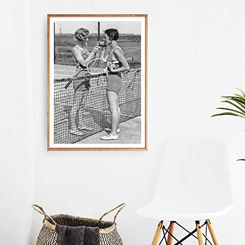 Tennis Poster Canvas Art Print Vrouwen Roken Vintage Fotografie Schilderen Zwart en Wit Foto Thuis Meisjes Kamer Muur Art Decor 60x80cm Geen Frame