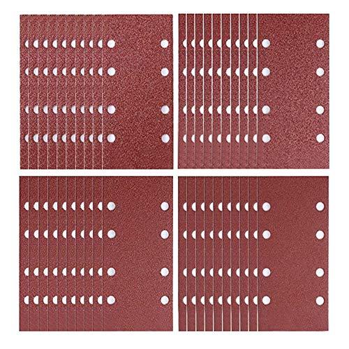Schleifblätter-Set, 93 x 185 mm, Schleifpapier, Klettschleifer-Pads, gelocht, 8 Loch, sortiert, Körnung 40/60/80/120 für Exzenterschleifer, 40 Stück