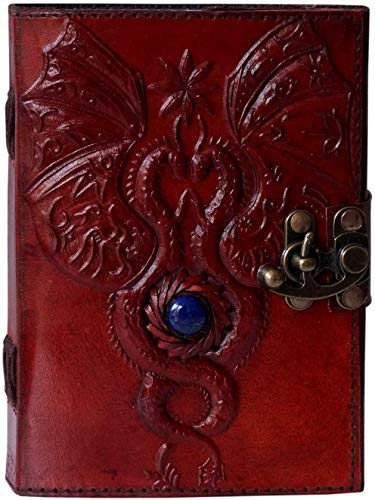 Handmade Leather Journal Dragon Embossed Third Eye Stone Celtic Journal Sketchbook Wiccan Pagan Notebook Appointment Organizer 5x7 inch Men Women Gift