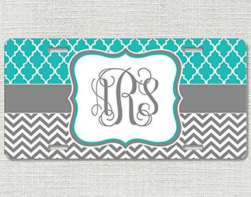 Fhdang Decor Gepersonaliseerde License Plate Armband Zig Zag Marokkaanse Quatrefoil Armband Auto Tag Monogrammed Monogram, 6