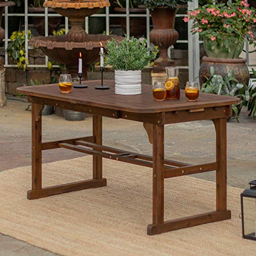 Walker Edison 6-8 Person Outdoor Patio Wood Extendable Rectangle Dining Table with Leaf All Weather Backyard Conversation Garden Poolside Balcony, 55-79 Inch, Dark Brown