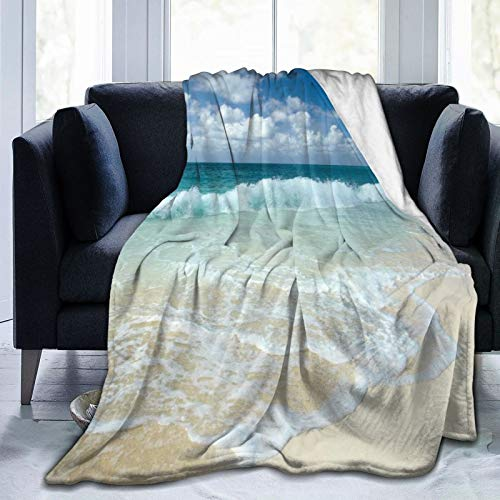 LISNIANY Flanell Fleece Soft Throw Decke,Strand mit schaumigen Wellen auf leerem Meer Shore Holiday Theme Serene Coastal,für Sofas Sofa Stühle Couch Leicht,warm und gemütlich 204x153cm