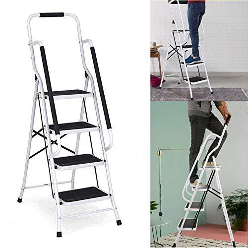 Trittleiter 4 Stufen klappbar mit Handlauf, Klapptritt aus Stahl mit Haltebügel und gummierten Stufen, Stehleiter - einfach zu verstauen, Klapptreppe bis 150 kg