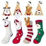 Calcetines de Navidad, 4 Pares Calcetines de Algodón de Navidad de invierno Calcetines Térmicos de Santa Claus Antideslizante Unisex Calcetines Con caja de regalo