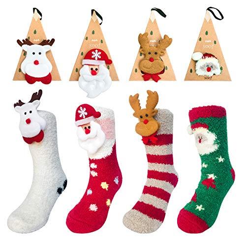 Killow 4 pcs Flauschige Socken Kuschel Weihnachtssocken Nikolausstrumpf, Hängende Strümpfe für Weihnachtsdeko Nette Karikatur Breathable Verdickte