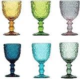 Pagano Home - Juego de 6 copas de cristal para agua/vino, colores surtidos, multicolor, capacidad 300 ml, Sensation (rojo, transparente, lila, verde, naranja celeste)