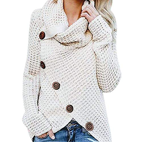 SEXOX Women's Jumper Knitted Sweater Loose Turtleneck Solid Warm Asymmetrical Wrap Pullover Long Sleeve Tops Slim Fit Casual Button Decorated