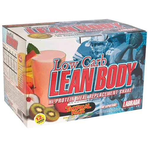 Labrada Nutrition Carb Watchers Lean Body Hi-Protein Meal Replacement Shake, Tropical (Pack of 20)