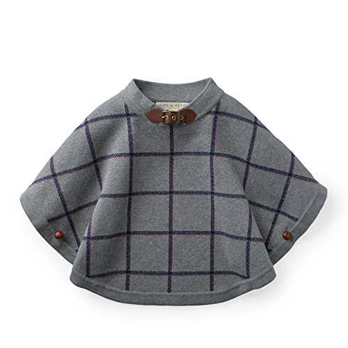 Hope & Henry Girls Grey Plaid Sweater Cape