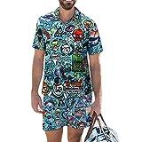 YOJOLO Hombres Camisas Hawaianas Pantalones Cortos De Playa Set Ocasional del Verano Dibujos Animados Impresión Manga Corta con Botones En La Camisa Secado Rápido con Cordón Playa Cortos,L