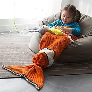 Professional Orange Fish Scales Knitted Mermaid Tail Blanket Cashmere Like Tv Sofa, Mermaid Tail Used - Used Blankets, Kids Mermaid Tail Blanket, Neck Buff, Crochet Twin Blanket, Mermaid Doll In Baby