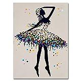 YuanMinglu Ballet Abstracto Ballet clásico Lienzo móvil Cartel Moderno decoración póster impresión decoración del hogar Sala de Estar Pared sin Marco 40x50 cm