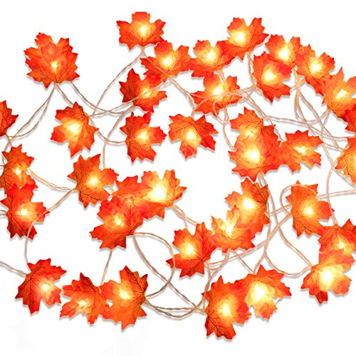 Beferr Fall Decorations Thanksgiving Lighted Garland Best Decor for Halloween Christmas Thanksgiving Wedding Party Maple Leaves String Lights 4.9 Feet...