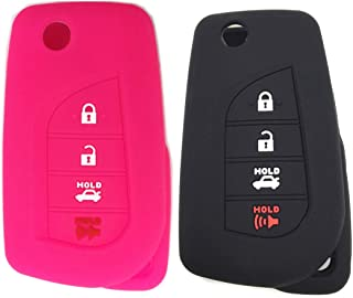 Ezzy Auto Black and Rose Silicone Rubber Key Fob Case Key Covers Key Jacket fit for Toyota Camry Yaris Avalon Corolla Highlander Sequoia Sienna Tundra Tacoma 4Runner Rav4