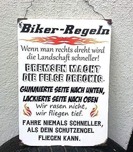 Biker Regeln Holzschild Höhe/Breite: ca. 297 mm x 210 mm Materialien: Holz, Draht