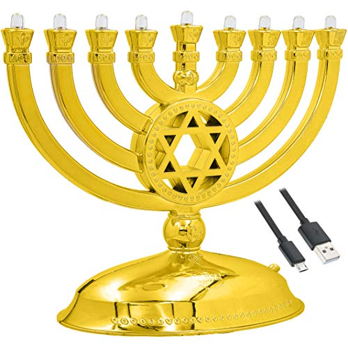 The Dreidel Company Mini Electric Menorah Traditional LED Travel Menora, Batteries or USB Powered, Micro USB 4' Cable Included (Gold)