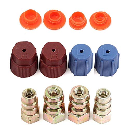 Trkee Set of 4 A/C R-12 to R-134a Low/High Side Retrofit Conversion Adapter Fitting Caps Kit Air Conditioning AC System