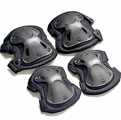 tykusm 4Stk Airsoft Tactical Combat Schutz Knie und Ellenbogen Pad (schwarz)