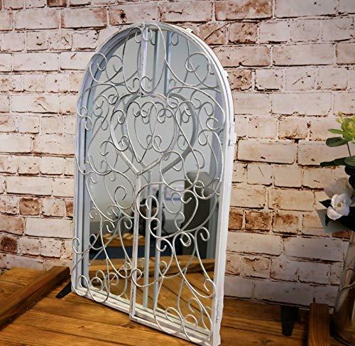 HomeZone - Specchio grande da giardino, in metallo, stile vintage retrò, in stile shabby chic, con imposte in metallo bianco, possibilità di appenderlo al muro