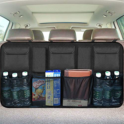 Car Backseat Trunk Organizer, Trunk Organizers Backseat Storage for Car,Truck, SUV, Van Organizers Back Seat Mesh Pockets